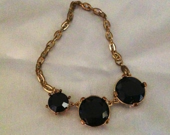 Vintage Triple Garnet Rhinestone Bracelet