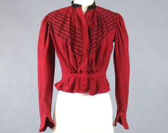 Antique 1900s Edwardian Jacket, Red Wool Edwardian Blouse Top with Black Trim, Gibson Girl Bodice Jacket, Small