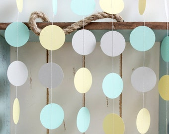 Mint Green, Light Yellow, Grey 12 ft Circle Paper Garland- Wedding, Birthday, Bridal Shower, Baby Shower, Party Decorations