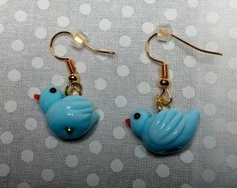 Blue ducky, lampwork duck earrings, blown glass earrings