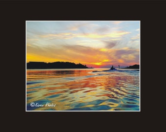 Sunset Ocracoke harbor Photographic Print matted in black North Carolina
