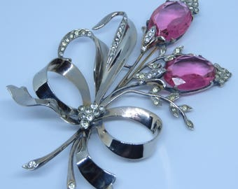Fabulous Art Deco era possibly Eisenberg large sterling silver pink faceted crystal pave rhinestone flower spray pin brooch