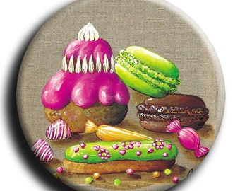 Magnet, Magnet round treats with 2 macarons, pastry filled with Strawberry, candy, a zipper