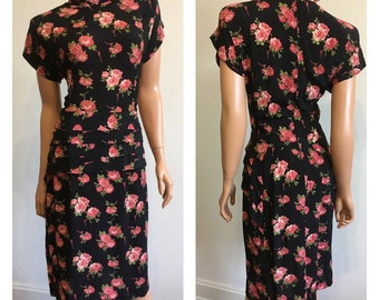 90's Does 40's Dress Rose Print Dress Pink Roses Dress Swing Dress Bombshell Dress !940's Inspired Dress Size Medium