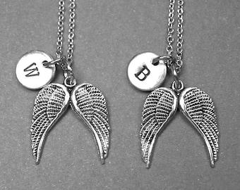 Best friend necklace, angel wings necklace, wing necklace, wings charm, BFF necklace, sister, friendship jewelry, personalized, monogram