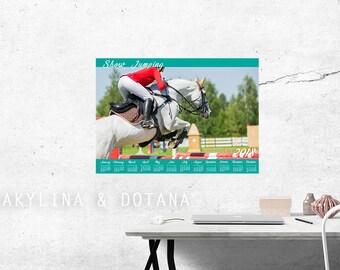 Calendar 2018 Show Jumping horse photo Wall art Printable A2 A3 Calendar One page At glance calendar Annual Calendar office decor home