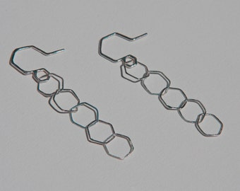 Hexagon link earrings handcrafted in Sterling Silver  - Light Earrings - Hexagons collection