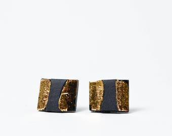 Schwarz und gold Ohrringe, Rechteck Ohrringe, geometrische Ohrringe, einzigartige Ohrringe, Keramik, Porzellan Schmuck, Herren Ohrringe Schwarz