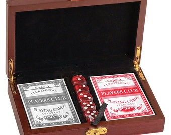 Personalized Engraved Rosewood Finish Card and Dice Set, Poker Cards, Dice, Wedding Gift, Groomsman Gift
