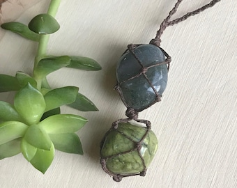 Moss Agate and Serpentine Crystal Necklace - Macrame Jewelry - Hemp Wrapped Stone Necklace - Chakra Necklace - Combo Crystal Pendant Hippie
