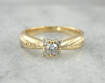 Illusion Set Diamond With Lovely Engravings Retro Diamond Engagement Ring PNLUTT-P