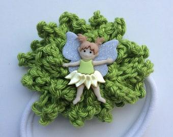 Green with little fairy on a luscious white nylon headband