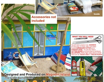 Island Cabana Dollhouse –in-a- Shoe- Box craft Kit; miniature playhouse kit ;rainy day activity