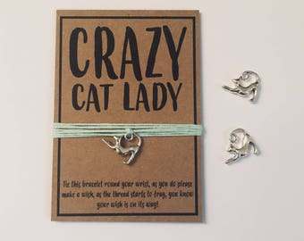 Crazy Cat Lady funny friendship charm wish bracelet