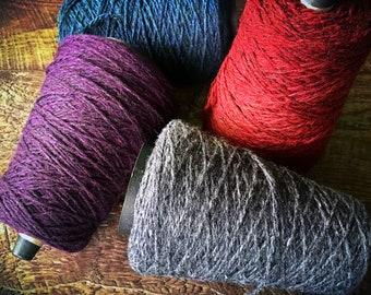 Yarn on a cone - worsted weight for knitting or crochet, sports weight yarn Harrisville Designs Shetland wool, Highland wool, wool yarn cone