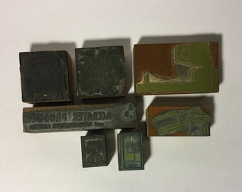 Vintage letterpress metal type piece dingbats font misc print type printing plates steampunk movable type upcycle stamping