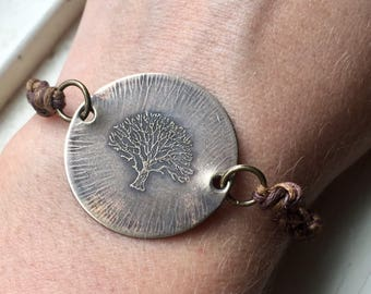 etched brass tree bracelet