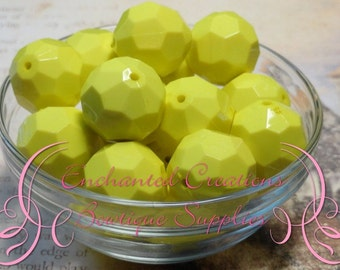 22mm Solid Neon Yellow Faceted Acrylic Beads 8pcs