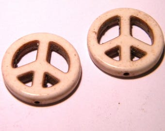 10 howlite beads 15 mm-Dragon - ivory howlite peace symbol - F141