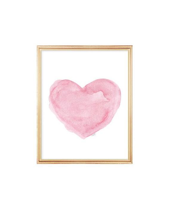Pink Heart Art, 5x7,  8x10 Art Print from Original Painting