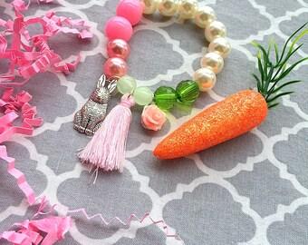Easter bracelet, bunny bracelet, easter jewelry, easter jewellery, rabbit jewelry, tassel bracelet, rabbit bracelet, bunny jewelry.