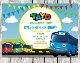 Tayo the Little Bus Invitation - Tayo Birthday Party - DIY Printable