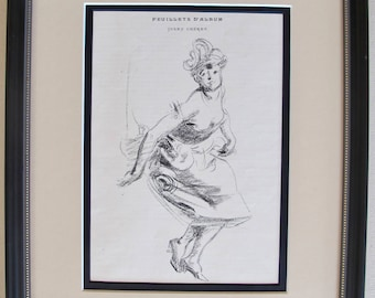Original 1890s French Vintage Belle Epoque Print, Jules Cheret Sketch of a Woman, Cherettes Vintage Advertising Framed  Wall Art