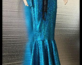 Gorgeous Turquoise Floor Length Mermaid Fish Scales Skirt Cosplay