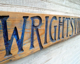 Wrightsville Beach Sign - Carved in an old slab of Cypress, North Carolina NC Wilmington Rustic Old School Cottage Gift