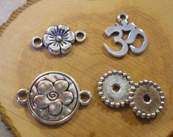 SET of 5 charms mixed theme: flower and ohm
