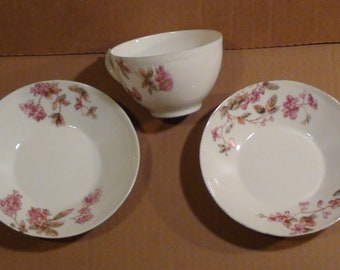 """Vintage Teacup And Two Small 5 5/8"""" Plates J.P.L. """"Limoges"""" France"""