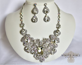 Wedding Jewelry Set, Crystal Bridal Statement Necklace Earrings, Bridal Earrings, Vintage Style