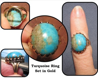 Victorian Rose Gold Multi Pronged Solitaire Turquoise Pinky Ring, crown setting