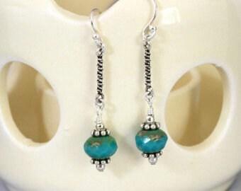 Dainty Sterling Turquoise Dangling Earrings, Sterling Earrings, Turquoise Earrings, Gemstone Earrings, Sporty Earrings