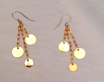 Tri gold toned disc earrings