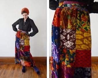 70s Patchwork Velvet Maxi Skirt - S