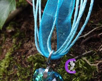 Aquamarine AB Swarovski Crystal heart pendant