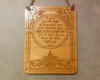Lord of the Rings, LOTR,Hobbit, Galadriel, Small Plaque,Laser Engraved Wood, Laser Cut Mini Wall Hanging