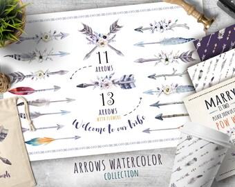 Watercolor boho arrows & bouquets. Tribe wedding bohemian digital Clip art. Rustic POW WOW invitation. Arrow Graphics. Tribal Arrow Clipart