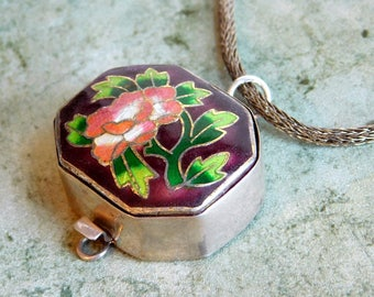 """Vintage Cloisonne Sterling Silver Pendant Necklace Made From Old Tongue Clasp - Variegated Translucent Enamel Flower, Maroon Background 22"""""""