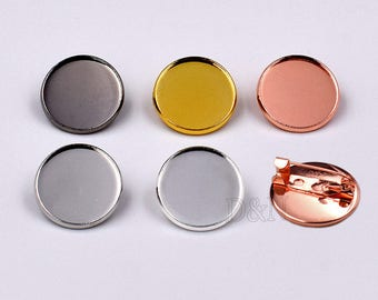 50pcs 25mm Round Bezel Brooch Blank-Tie Tack Clutch-Round Lapel Pin Brooch Blank-Match 25mm Cabochon-20mm/25mm available-6 Color