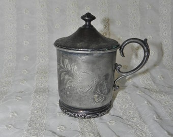 Forbes Silver Company Quadruple Ornate Handled Cup With Flowers Engraved MEP in Script - Comes with Lid