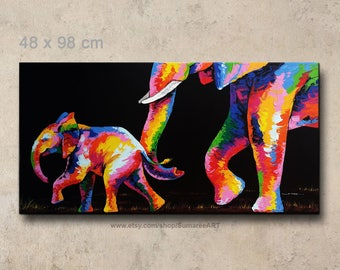 48 x 98 cm, Colorful elephant painting on canvas, elephant wall decor