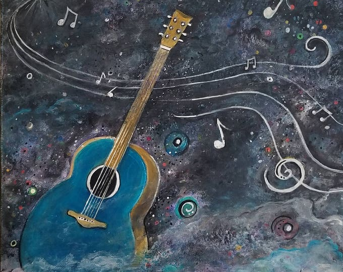Space Guitar Original acrylic abstract Painting Free Shipping USA