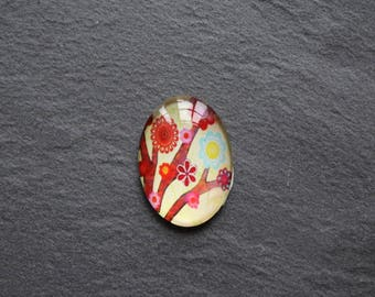 Cabochon 18 x 25 flower / glass industry
