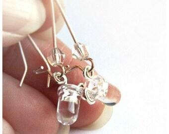 Statement Jewelry Wearable Tech Tiny Clear LED Earrings Computer Earring Sterling Silver Earrings Eco Friendly Technology Electronic