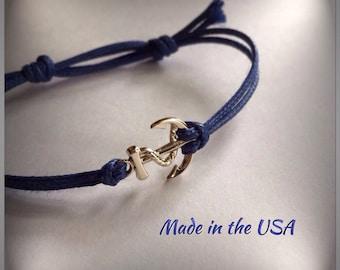 Dainty gold anchor bracelet, nautical bracelet