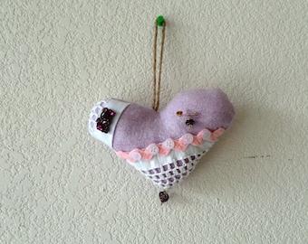 Primitive Heart door ornament/ Heart Door hanger
