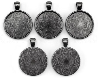 "50 - 1"" Pendant Trays - Gunmetal (Dark Silver) - 25mm Round Pendant Settings - Vintage Antique Style Pendant Blanks Bezel 25 mm 1"" Diameter"