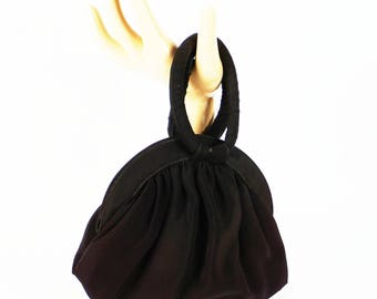 Vintage 1950s Handbag Black Faille Pouch Purse